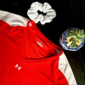 Under Armour Red and White Workout Shirt